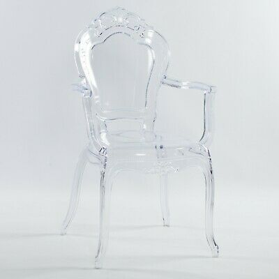 French Louis Bella Clear Ghost Dining Occasional Carver Armchair Transparent • 79.99£