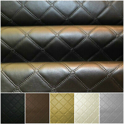 Faux Leather Diamond Fabric Heavy Duty Leatherette Upholstery Vinyl Material • 11.50£