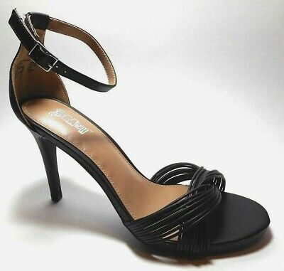 8b11528c166 BRAND NEW BRASH Sizes 7 To 9 Black Leather Look Ankle Strap Heel Pumps Shoes  •
