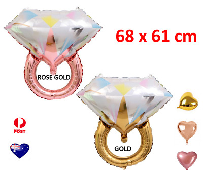 AU3.60 • Buy Rose Gold Diamond Ring Foil Balloon Air Inflatable Engage Party Decoration 1/2
