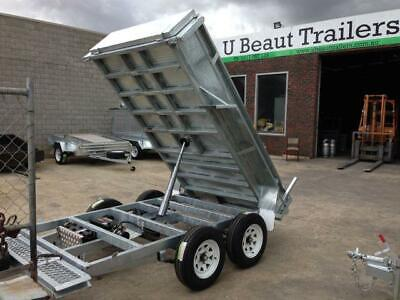 AU9950 • Buy 9x5 Tandem Tipper Trailer Galvanised Hydraulic 3000kg ATM, Ramps, Drop Legs
