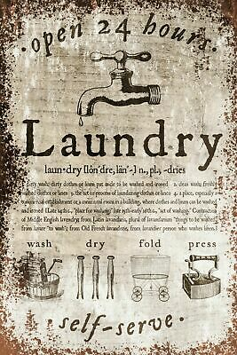 Laundry Advert Retro Vintage Style Metal Sign, Plaque, Bathroom, Home • 7.49£
