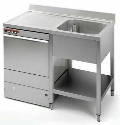 Commercial Stainless Steel Left Hand Drainer Single Bowl Dishwasher Sink 1200mm • 385£