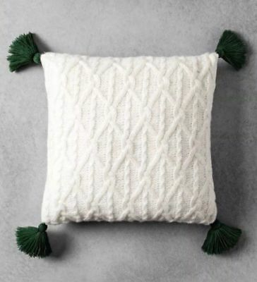 £28.39 • Buy Hearth & Hand  Magnolia Cable Knit Tassel Throw Pillow Cream 18  (I HAVE 6 AVAIL