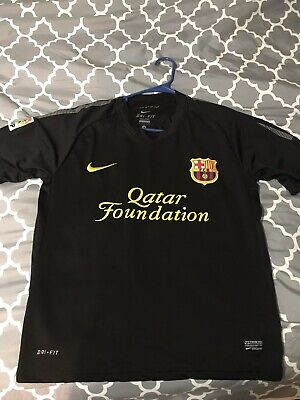 722679289 FC Barcelona Nike 2011 Soccer Jersey Away Black Men s Size Small Barca •  22.00
