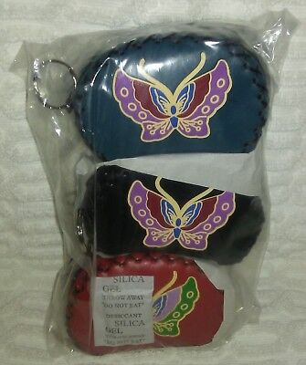 """$25 • Buy 3"""" Set Of 3 Dark Blue Black And Red Mini Butterfly Coin Purses"""