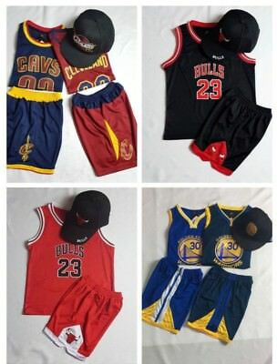 AU29.98 • Buy Kids Cap Basketball Chicago Bulls Golden State Cleveland NBA Jersey Top+Short 23