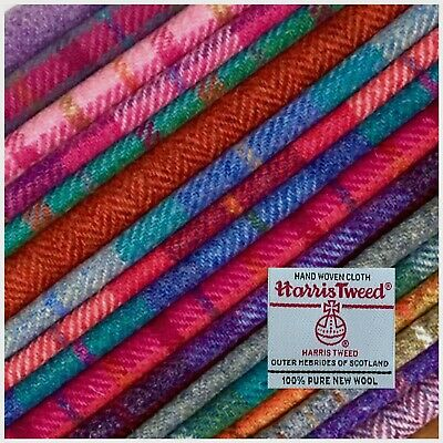 Genuine Harris Tweed Pure Wool Fabric from the Outer Hebrides in Scotland purple herringbone in all sizes sold as 14 meter units and Labels