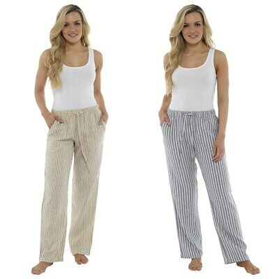 Womens Linen Trousers Ladies Striped Elasticated Long Casual Summer Pants 10-20  • 12.59£