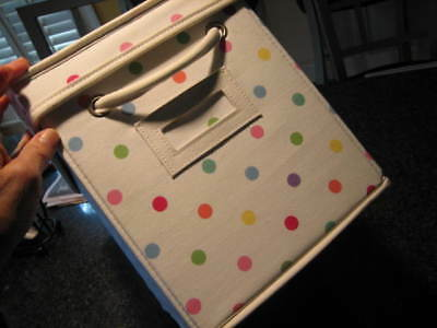 $19.99 • Buy POTTERY BARN TEEN White Polka Dot DOTTIE Canvas Storage Bin Box With Lid