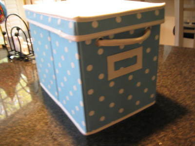 $19.99 • Buy POTTERY BARN TEEN Blue Polka Dot DOTTIE Canvas Storage Bin  Box With Lid