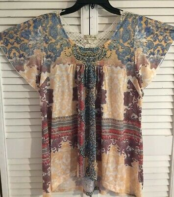 $7.50 • Buy Womens Yellow And Lace Blouse Size Large By Live And Let Live, Beaded Neckline