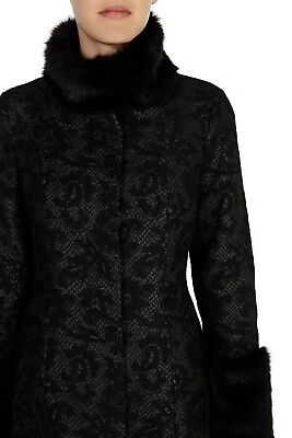 Coast Avenue Lace Effect Coat With Faux Fur Collar And Cuff Trim Uk Size 8 • 110£
