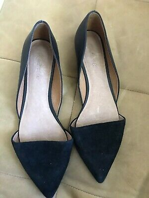 a68d3095a2e Madewell D Orsay Flats Womens Sz 10 Black Leather Pointed Toe Shoes • 24.99