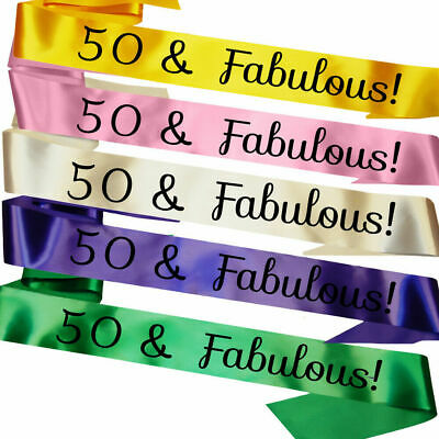 £3.95 • Buy 50th Birthday Gift Present - 50 And Fabulous Satin Party Sash Fifty Decoration