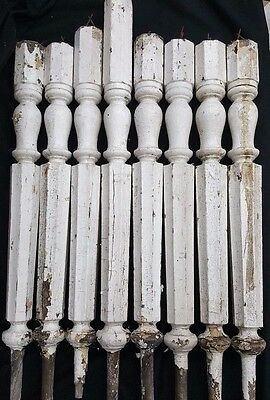 $360 • Buy Architectural Salvage Tall Wooden Octagon Shaped Spindle Balusters Set Of 8