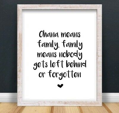 A4 Disney Lilo & Stitch Ohana Family Typography Print Quote Gift Home UNFRAMED  • 4.75£
