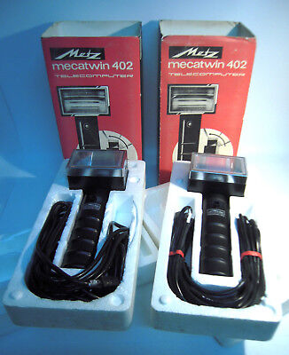 Metz Mecablitz 402 Set 2x Handle Mount Flashes Old Stock Mint Used Boxes-K1100 • 178.81£