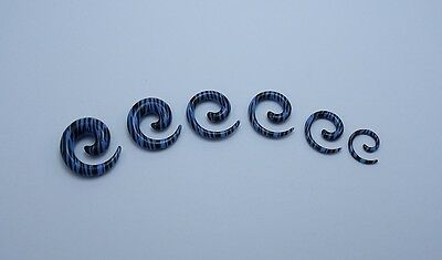 $1.99 • Buy 1 Pair 8g - 00g Blue And Black Zebra Acrylic Spiral Tapers  Choose Your Size