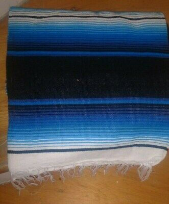 £23.28 • Buy Mexican Serape Blanket Blue And Black  White Striped And Black Fringe XL 84 X 64