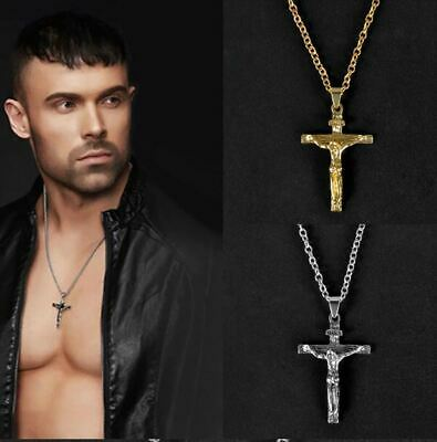 $7.99 • Buy Crucifix Necklace Mens 24  Chain Christian Catholic Jesus Gold Silver Quick Ship