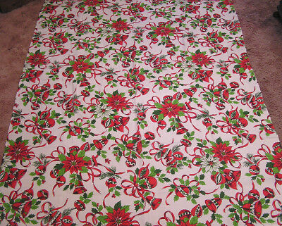 $ CDN30.45 • Buy Vintage Tablecloth Christmas Holiday Theme Red Poinsettias Bells Ornaments 1970s