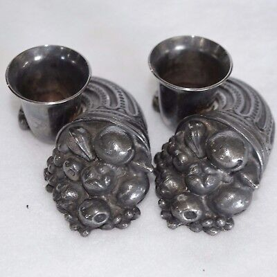 Pair Of Reed & Barton Silver Plate Cornucopia Horn Candlesticks Candle Holders 2 • 26.63£