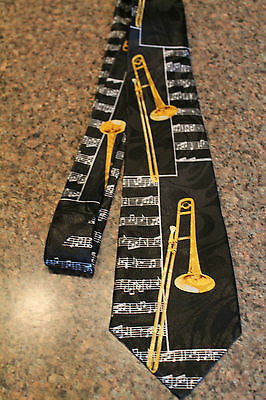 New Men's Black Neck Tie Trombone Steven Harris Polyester 3.8  W 58  L  • 11.99$