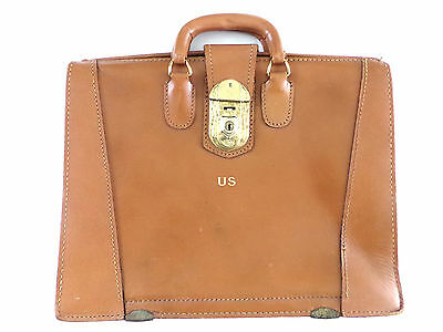 $299 • Buy Vintage 1950's Tan Leather Doctor Lawyer Scholar Briefcase  US  Yale Lock