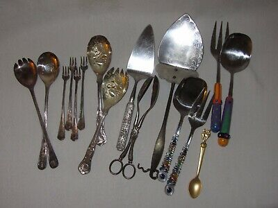 $ CDN79.53 • Buy Lot Misc Silverplate Vtg Serving Pcs Salad Fork Spoon Tongs HEILAG OLAV Rogers