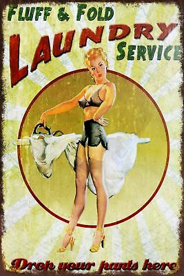 Laundry Service Pin Up Girl Vintage Retro Style Metal Sign, Man Cave, Shed • 2.49£