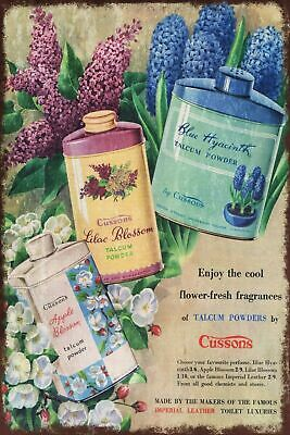 Cussons Floral Talc Advert Vintage Retro Style Metal Sign, Bathroom, Laundry • 7.49£