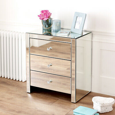 Venetian Mirrored 3 Drawer Wide Bedside - Nightstand Side Table Glass - VEN53 • 189£