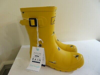 Joules Mid Rain Boots Molly Welly Yellow Gold Bees Bumble Bee New 7 • 62.99$