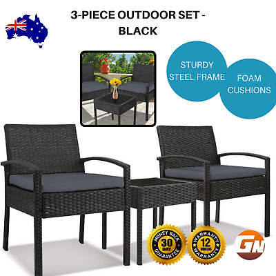 AU185.25 • Buy 3-piece Outdoor Patio Setting Glass Top Table 2 Chairs Seating Decor -  Black