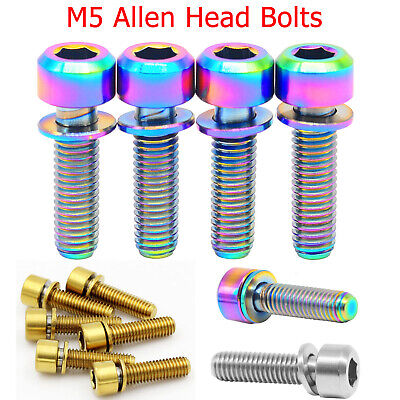 M5 Titanium Screws MTB Bike Grade 5 Allen Hex Socket Cap Head Bolt 14 16 18 20mm • 1.42£