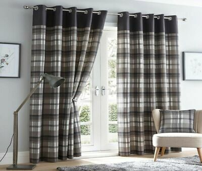 Lined Curtains Tartan Check Eyelet Ring Top Curtains Red & Grey Or Charcoal  • 29.95£