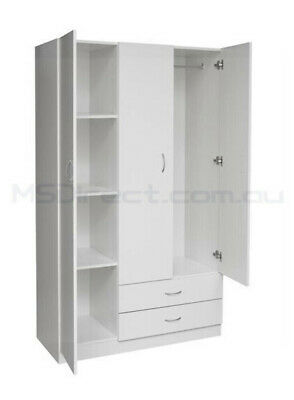 AU239 • Buy New White 3 Door Wardrobe With 2 Drawers Storage Cupboard