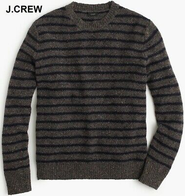 $63.60 • Buy J.CREW Donegal Wool Sweater Taupe Grey Navy Chunky Fisherman Striped S NEW NWT