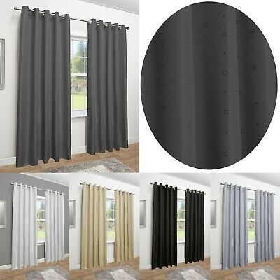 Mayfair Luxury Faux Silk Eyelet Fully Lined Curtains - Ring Top • 31£