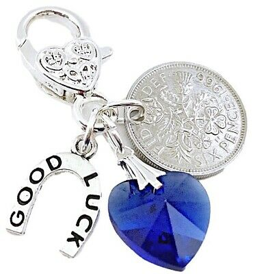 £2.95 • Buy Lucky Sixpence Bride, Wedding Garter Charm ,something Blue, In A Lovely Bag