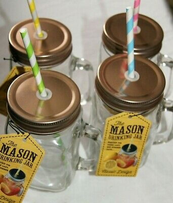 Set 4 Glass Mason Drinking Jars With Straw And Copper Coloured Lids • 10.95£