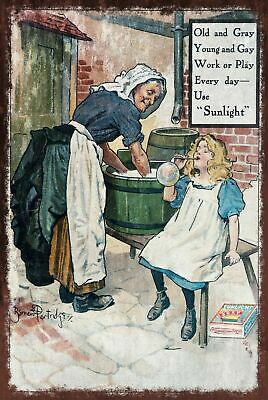 Sunlight Soap Advert Aged Vintage Retro Style Metal Sign, Laundry, Washing • 7.49£