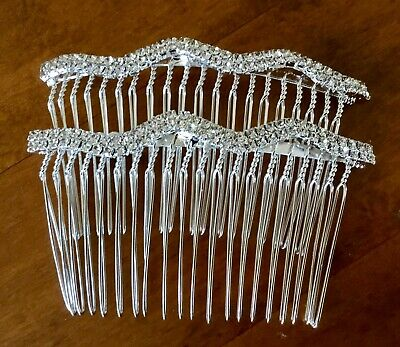 £4.70 • Buy Bridal.Wedding.Crystal.Jewel.Diamante.Side Comb.Hair.Silver Plated.set Of 2 Comb