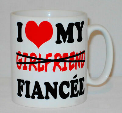 I Love Heart My Fiancée Mug Can Be Personalised Great Engagement Girlfriend Gift • 9.99£