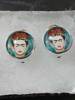 £2.99 • Buy Frida Kahlo Roses Cabochon Silver CLIP ON  Earrings 12mm