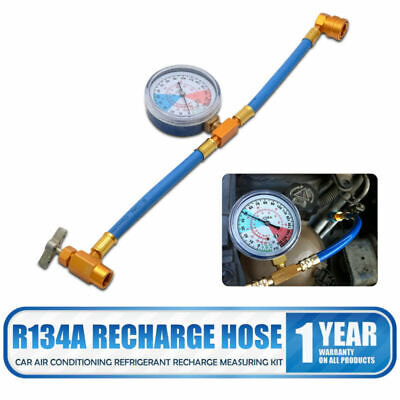 Car Air Conditioning Refrigerant Recharge Measuring Kit Hose Gas Gauge R134A Car • 9.69£