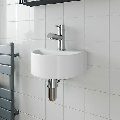 Cloakroom Wall Hung Basin Sink Hand Wash Round 1 Tap Hole White Modern Bathroom • 37.99£