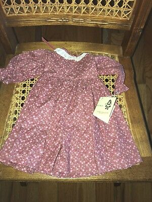 """$8.95 • Buy New Doll Dress  Dusty Rose Floral 12 1/2"""" Long 4"""" Shoulders Eyelet Lace Collar"""