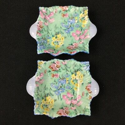 Shelley Melody Chintz Green Daisies TWO (2) Trinket Pin Trays Sweetmeat Dishes  • 24.16£